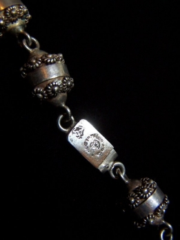 Vintage Mexican Silver Etruscan Wire Bead Work Necklace
