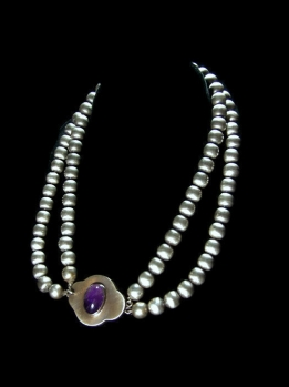 Fred Davis Vintage Mexican Silver Beaded Necklace & Amethyst