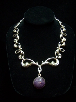 Gorgeous Amethyst Vintage Mexican Silver Necklace