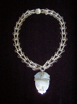 Hector Aguilar Mexican Silver V Necklace With Stone