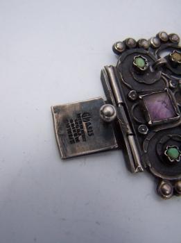 Gustavo Martinez Mexican Silver Jeweled Bracelet
