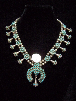 Zuni Turquoise Native American Silver Necklace