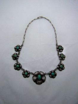 Caged Obsidian Vintage Mexican Silver Necklace