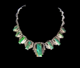 Gorgeous Green Stone Vintage Mexican Silver Necklace