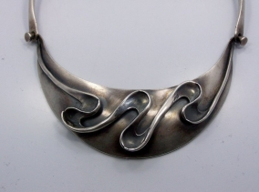 Older Sigi Pineda Vintage Mexican Silver Swirl Pectoral