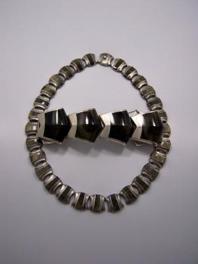 Ledesma Obsidian Vintage Mexican Silver Necklace