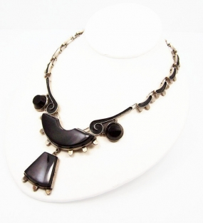 Ace Onyx Vintage Mexican Silver Necklace