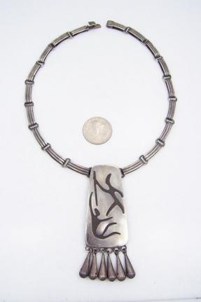 Los Castillo Onyx Negro Warriors Vintage Mexican Silver Necklace