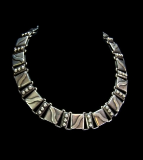 Hector Aguilar Lyre Vintage Mexican Silver Necklace