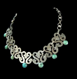 Vintage Mexican Silver Turquoise Necklace Swan Link