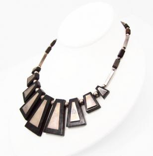 Los Castillo Wood & Inlaid Silver Vintage Mexican Necklace