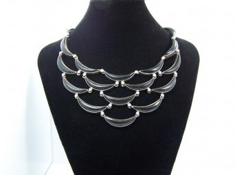 Antonio Pineda Onyx Crescent Vintage Mexican Silver