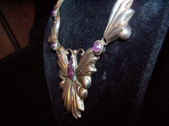 Vintage Mexican Silver Amethyst Butterfly Necklace