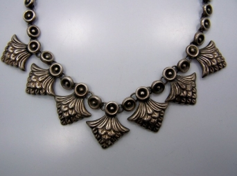 Repousse Feathers Vintage Mexican Silver Necklace