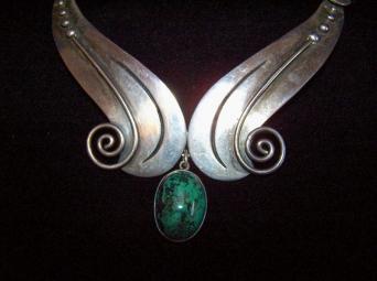 A. Cazares Vintage Mexican Silver Necklace W/ Stone