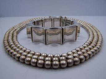 Antonio Pineda Vintage Mexican Silver Concave Bracelet