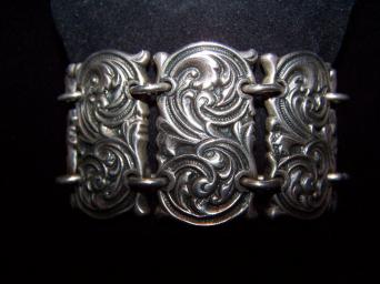 Art Nouveau Vintage Mexican Silver Bracelet