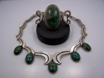 Los Ballesteros Mexican Silver Green and Blue Necklace