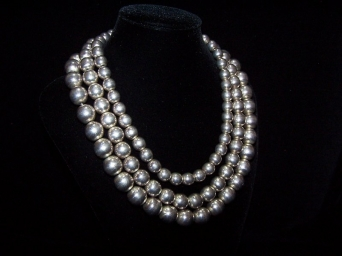 Shoenfeld Triple Silver Pearls Mexican Silver Necklace