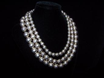 Shoenfeld Triple Silver Pearls Mexican Silver Necklace