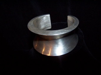 Vintage Mexican Silver Convex Heavy Cuff Bracelet