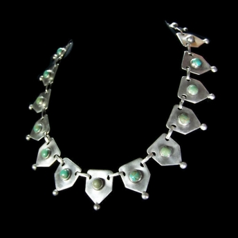 Taxco 980 Vintage Mexican Silver Necklace Turquoise Stones