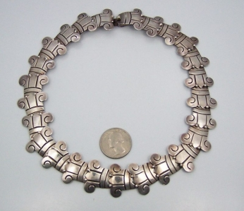 Vintage Mexican Silver Necklace In Aguilar Style