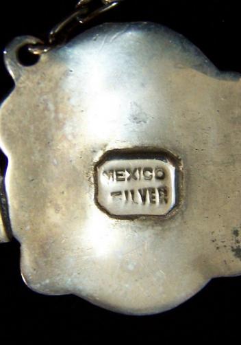 Heavy Vintage Mexican Silver Deco Bracelet W/Amethyst