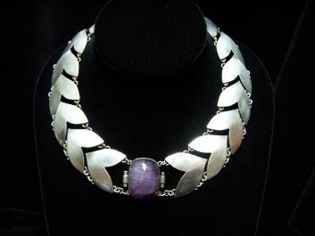 Fred Davis Chevron Vintage Mexican Silver Necklace