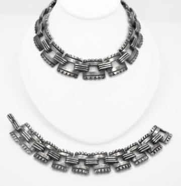 Vintage Mexican Silver Necklace Bracelet Set Aguilar Design