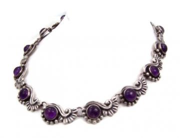 Vintage Mexican Silver Amethyst Cabochon Necklace