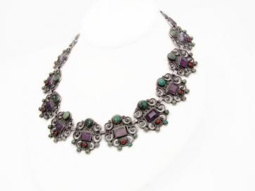 Dominguez Vintage Mexican Silver Multi Stones Necklace