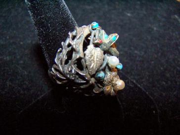 Vintage Mexican Silver Parijito Ring, Earrings, Bracelet