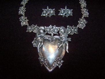 Margot de Taxco Mexican Silver Vintage Rose Earrings