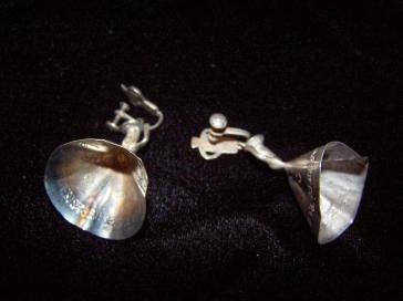 Vintage Peruvian Silver Dancers Earrings and Bracelet