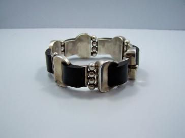 Antonio Pineda Onyx Crescent Vintage Mexican Necklace