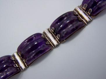 Fred Davis Amethyst Vintage Mexican Silver Bracelet