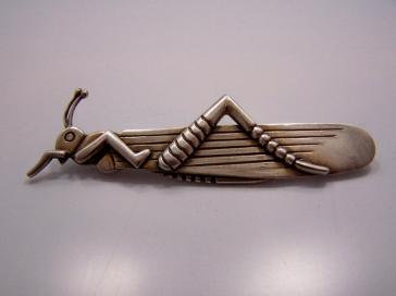 Hector Aguilar Vintage Mexican Silver Grasshopper Pin