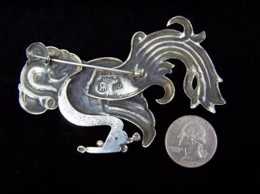 Hector Aguilar Vintage Mexican Silver Macaw Brooch