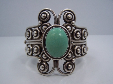 Los Ballesteros Vintage Mexican Silver Turquoise Cuff