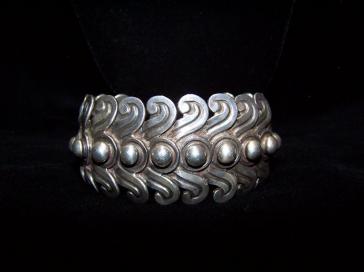 Los Castillo Old Mexican Silver Bracelet Vintage Swirl