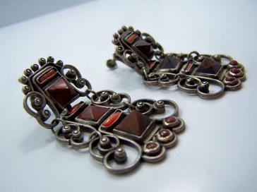 Matl Design Pre-1948 Vintage Mexican Silver Earrings