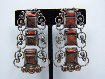 Matl Design Pre-1948 Vintage Mexican Silver Earrings