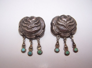 Matl Salas Mexican Silver Roses Earrings