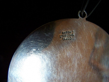 Old Anton Vintage Mexican Silver Obsidian Pendant