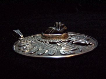 Old Anton Vintage Mexican Silver Obsidian Pendant