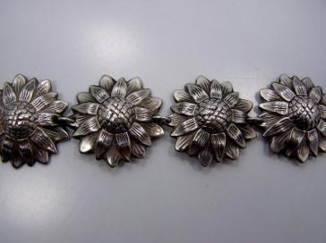 Old Los Castillo Floral Vintage Mexican Silver Bracelet