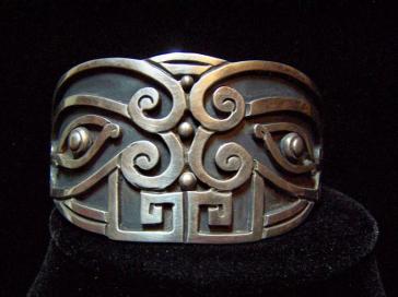 Los Castillo Wide Cuff Vintage Mexican Silver Rare #344