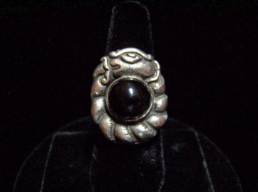 Obsidian Old Matl Mexican Silver Ring Matilde Poulat