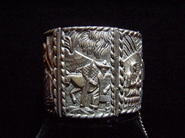 The Best Old Mexico City Repousse Silver Story Bracelet